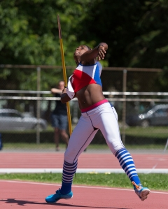 Yorgelis Rodriguez of Cuba competing in the heptathlon javelin at the 2015 Capital Cup Photo: Brian Rouble/Shuttered Moments