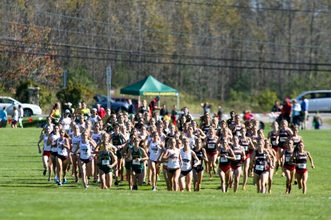 (Canton, NY -- 26 Septemeber 2015) Athletes competing at the 2015 Hoffman Invitational Cross Country Meet on the campus of St. Lawrence University in Canton, New York. Copyright Miles Ryan Rowat, 2015